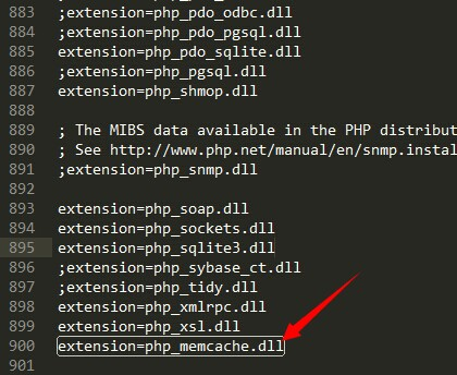 extension=php_memcache.dll
